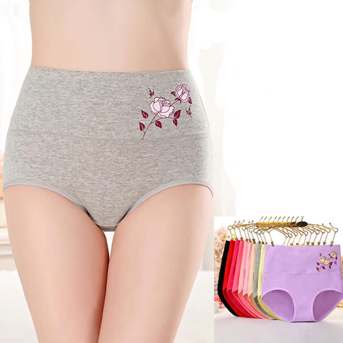 5 Gói Đồ lót Lady Cotton Eo cao Cotton XL Hip Up Bụng Sexy Mùa đông ấm thoáng khí Chất béo - Cặp đôi