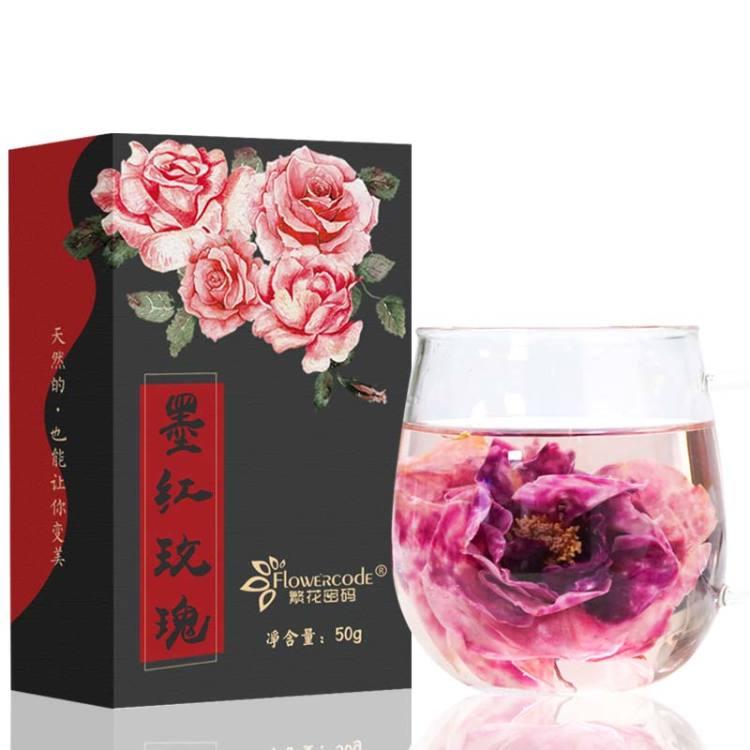 繁花密码 云南墨红玫瑰花冠茶玫瑰干花茶特级新一朵一杯50g