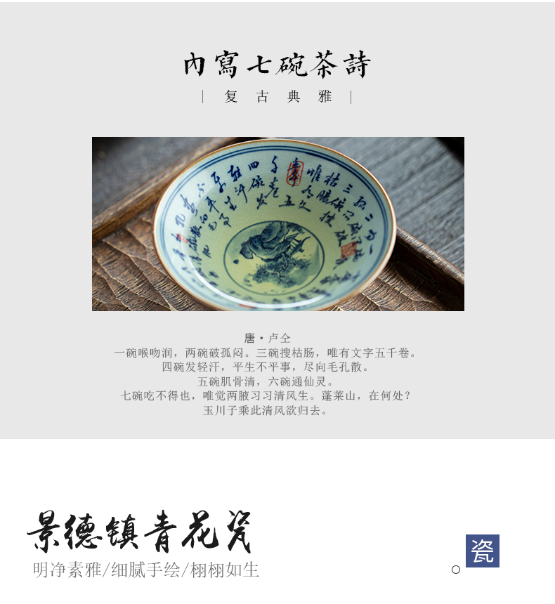 Jingdezhen blue and white landscape ceramic seven poems perfectly playable cup bowl of tea master cup single cup clay cup with triangle flowers pattern circle kunfu tea