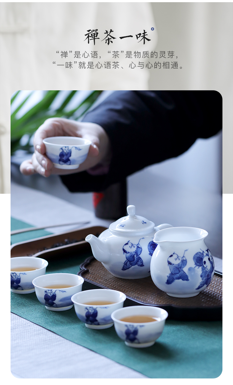 Hand - made figure 8 baby play head was suit jingdezhen Hand - made ceramic kung fu tea set group of domestic cup set