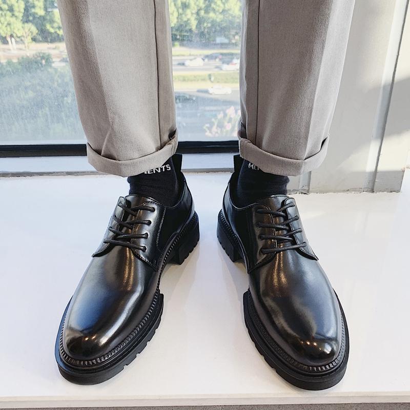 男鞋春季新款英伦男士休闲商务正装黑色内增高青年西装皮鞋男韩版