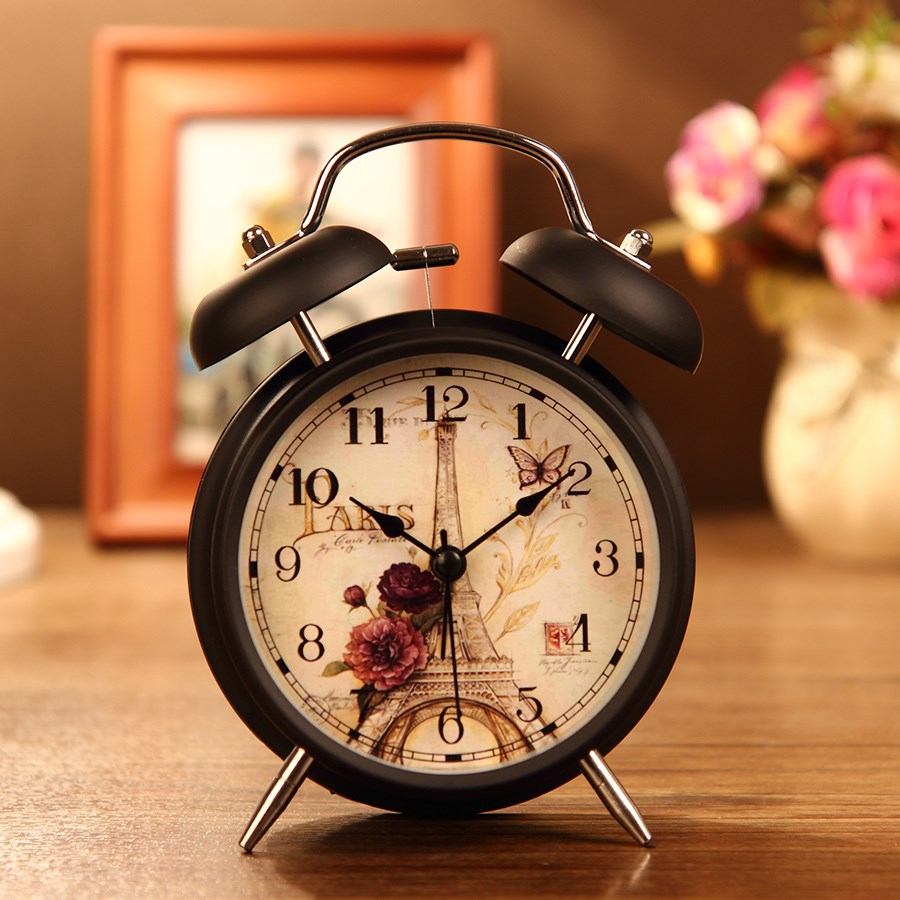 Simple European mechanical alarm clock creative hair strip personality old-fashioned nostalgic Shanghai pastoral student bedside decoration