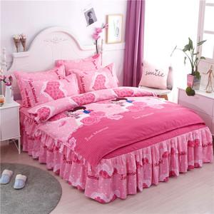 网红加厚款全棉磨毛四件套纯棉韩版公主风单双人被套床裙床单床上