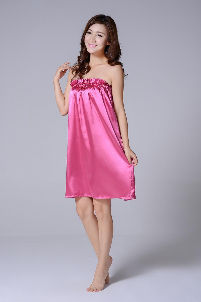 Váy lụa mô phỏng YL màu đỏ hồng (3)
