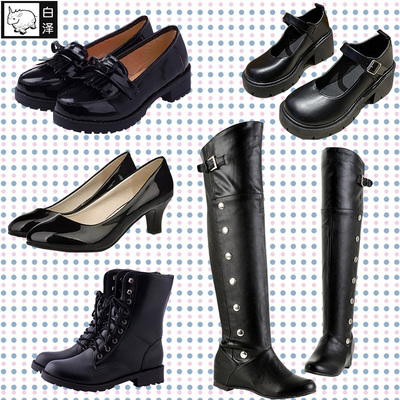 taobao agent Bai Ze JK uniform shoes anime surrounding small black leather shoes cosplay female high school students shoes leather shoes boots