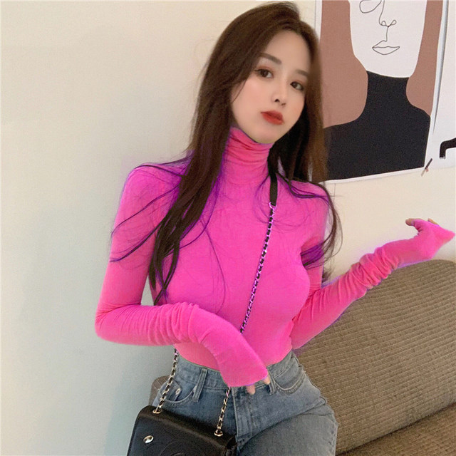 2020 Western style slim top pile pile sleeves autumn and winter all-match high neck bottoming shirt female candy color tight T-shirt long sleeves