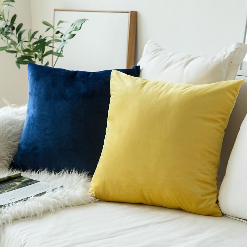 北欧抱枕靠垫沙发靠垫办公室腰靠枕床头靠背垫天鹅绒抱枕套不含芯