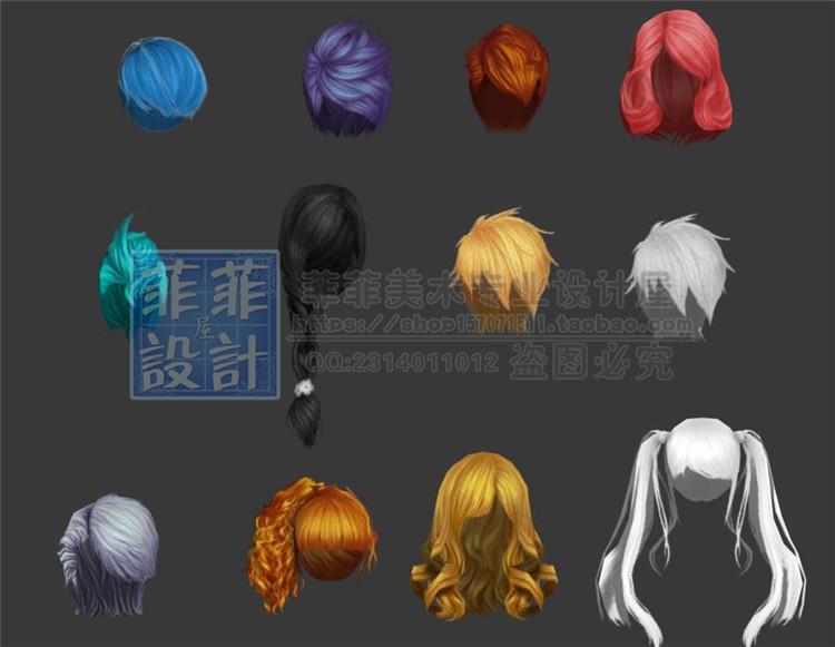 游戏美术素材 卡通角色头发发型3D模型 原画设计参考 3Dmax源文件