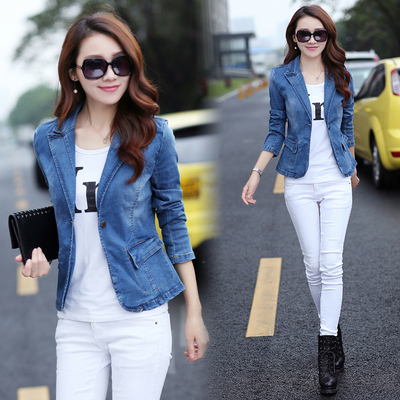 【Daily specials] women's jeans jacket temperament Slim was thin short suit fashion Korean shirt