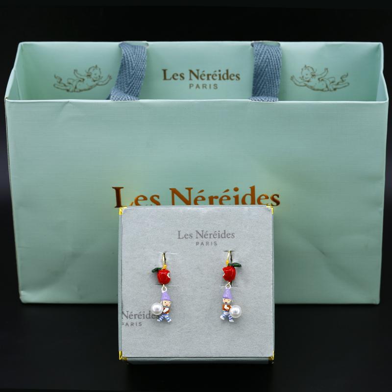 lesbsl珐琅釉白雪公主N2红苹果珍珠小矮人耳挂耳夹耳环