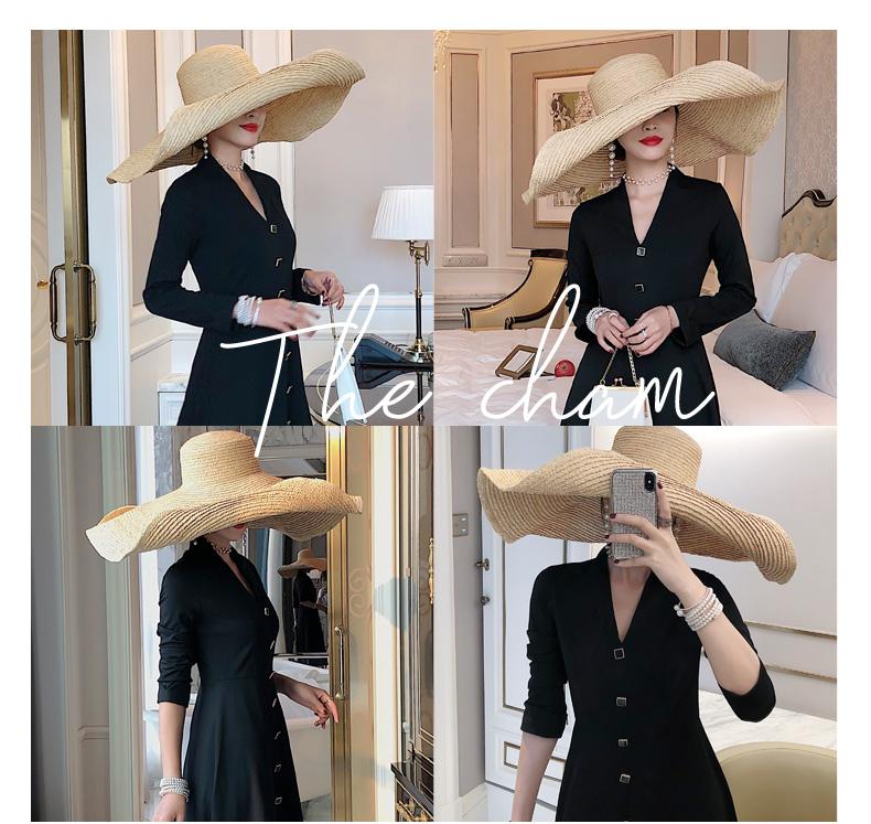 【森小靜】赫本風小黑裙法式秋裝2019新款收腰顯瘦中長款V領長袖黑色連衣裙