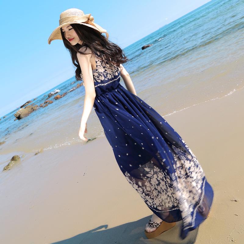 大码女装胖mm显瘦雪纺连衣裙碎花波西米亚度假沙滩裙长裙200斤潮