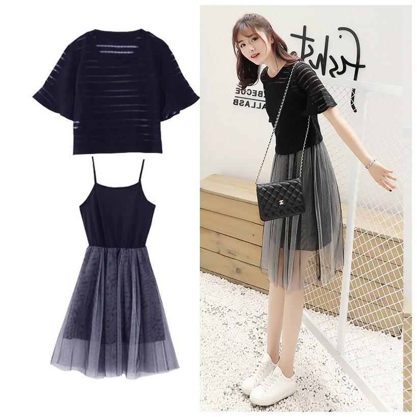 2019夏季小清新套装新款中长款两件套连衣裙学生吊带裙子女可爱潮