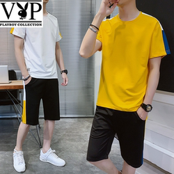 Men's sportswear suit summer men's short-sleeved shorts summer handsome trend brand two-piece fashion casual wear