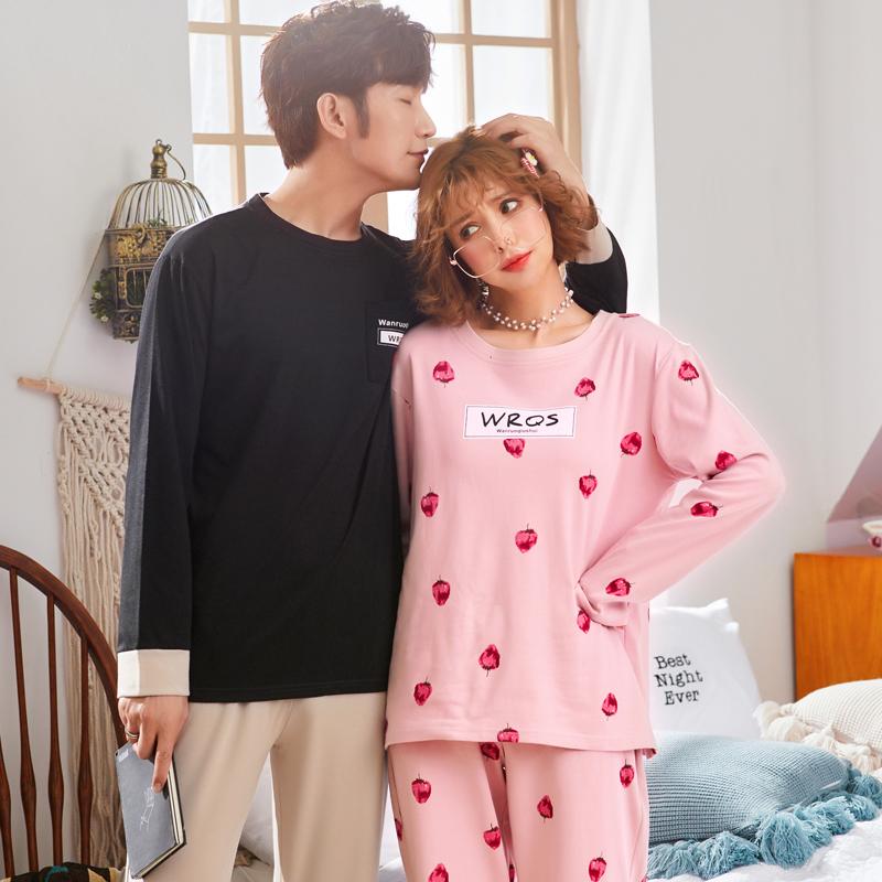 新款韩版情侣甜美纯棉长袖睡衣家居服12月02日最新优惠