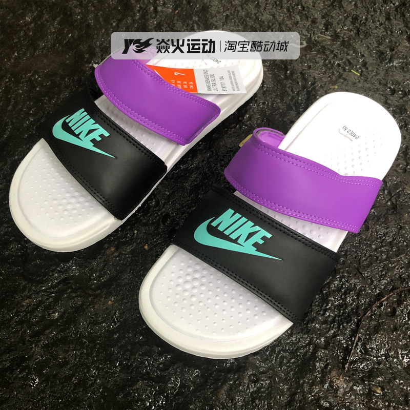 sports shoes 31e8d 37468 Nike Nike men and women couple slippers black and white ...