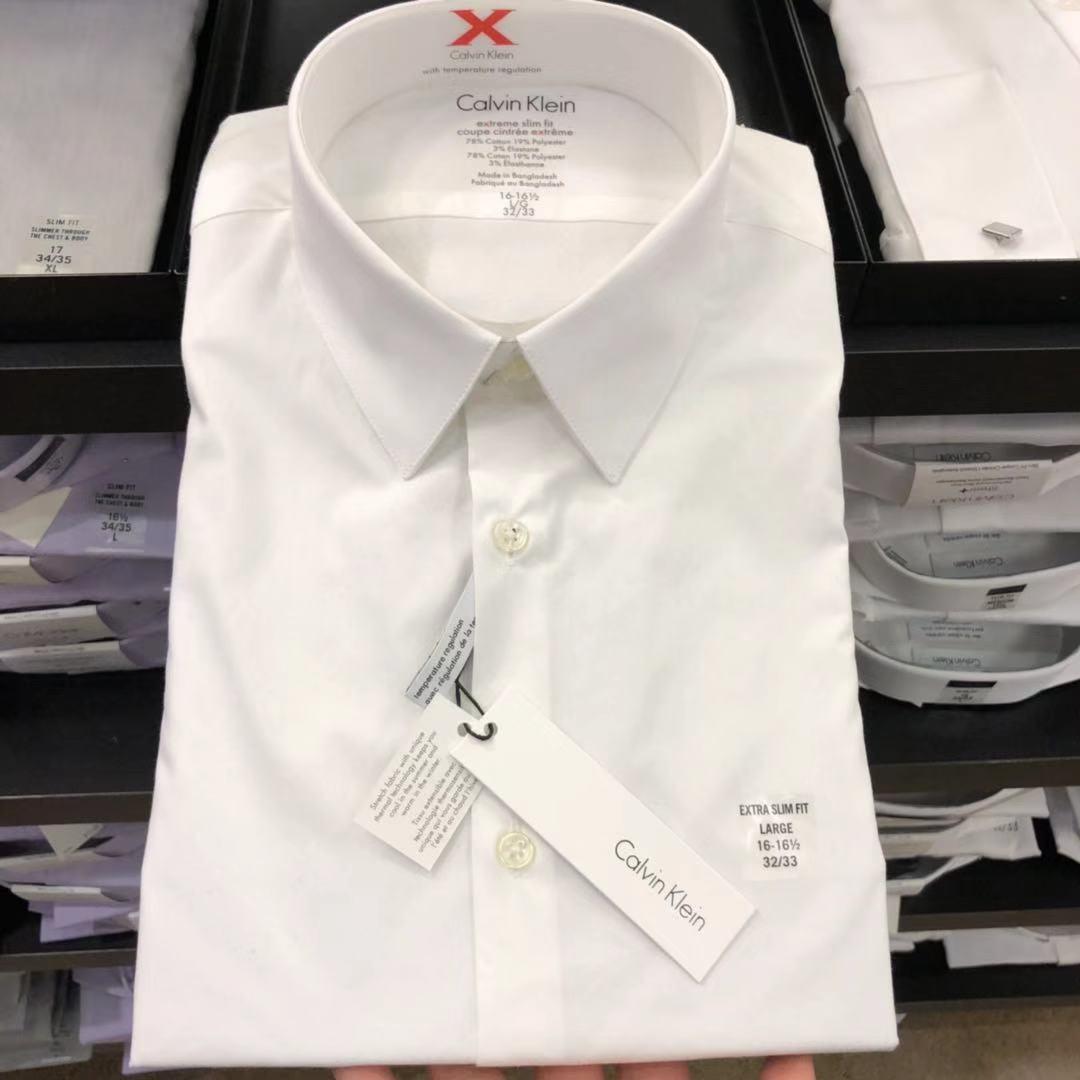 牛X男装CK/CalvinKlein衬衣春秋新款长袖纯棉正品免烫衬衫正装