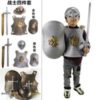Рождество детские Рабочая одежда комплект Кос броня воин проп шлем игрушечный щит