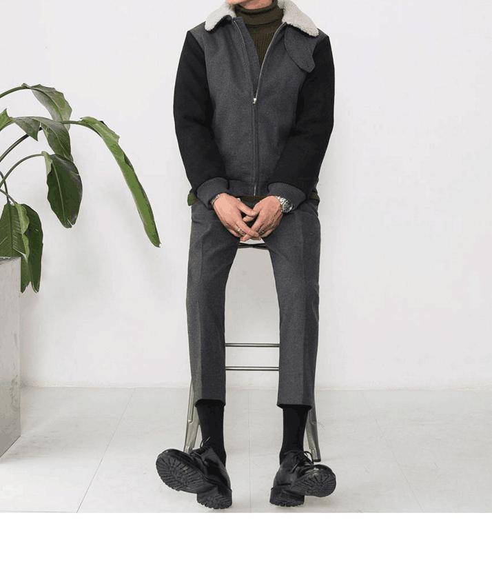 Mùa thu đông 2019 mới quần ống rộng màu rắn len chín điểm quần lửng ống quần ống suông ống quần harem củ cải nam - Quần