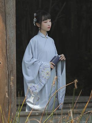 【十三余 小豆蔻儿】[画扇]立领斜襟长衫一片式下裙秋冬款汉服女