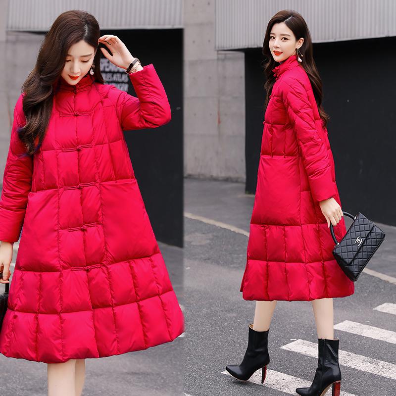 棉袄复古时尚女棉服立领中长款冬季小香风a棉袄棉衣裙摆羽绒式盘扣