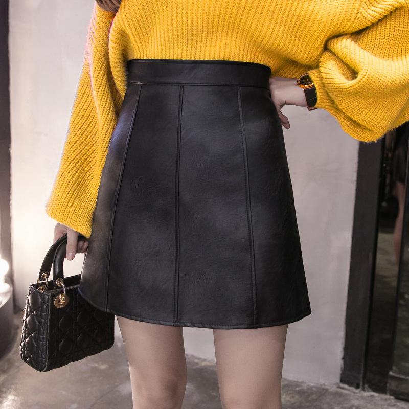 高腰显瘦A字小皮裙包臀裙