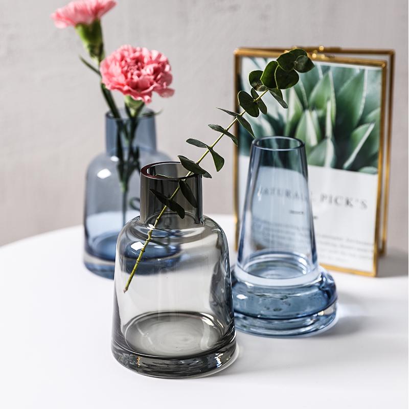 舍里北欧风简约花器花瓶细口锥形插水培干花瓶香薰瓶花器瓶玻璃