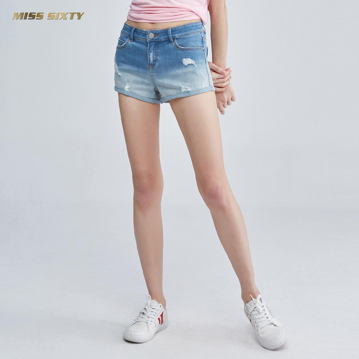 A Miss Sixty2018新款夏季破洞熱褲闊腿牛仔短褲女682JJ2321000