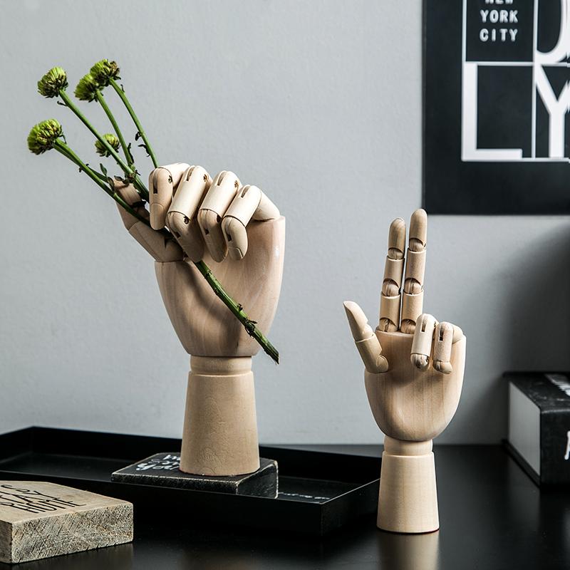 北欧创意木头人桌面手服装摆件模型店铺家居摆设装饰品小关节