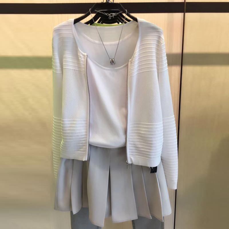 圣阿玛施塔夏短款2020春秋季新款白色外套针织上衣开衫镂空女装薄