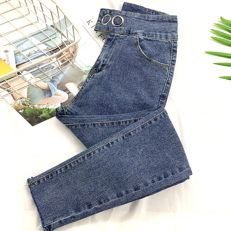 2019 spring section metal buckle ultra-high waist was thin eight points small jeans female autumn net red tight feet abdomen