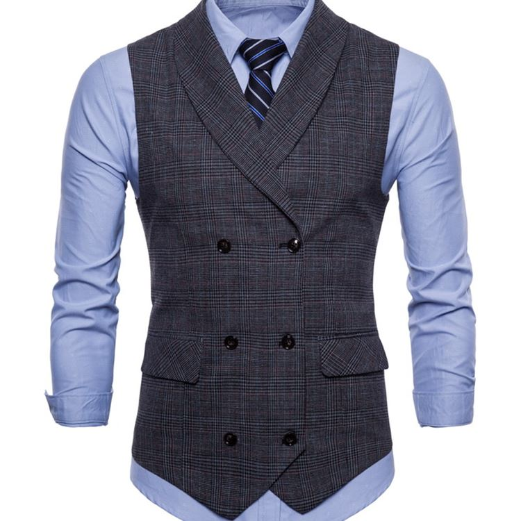 男士双排扣格子马甲Men Suit Vest Slim Dress Plaid Waistcoat