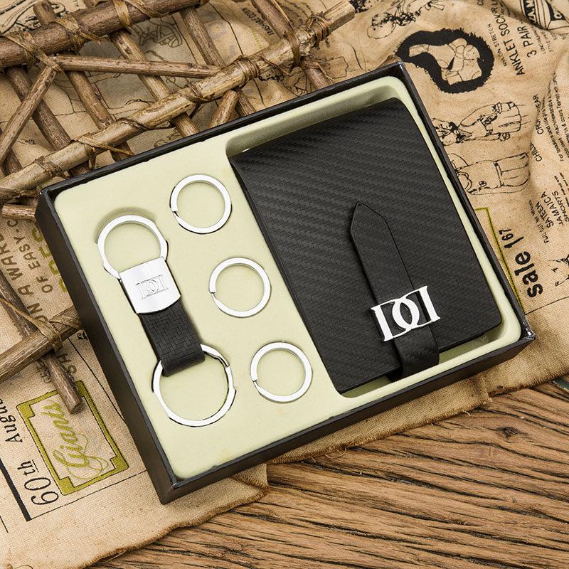 【杜尔】碳纤牛皮卡包钥匙扣套装