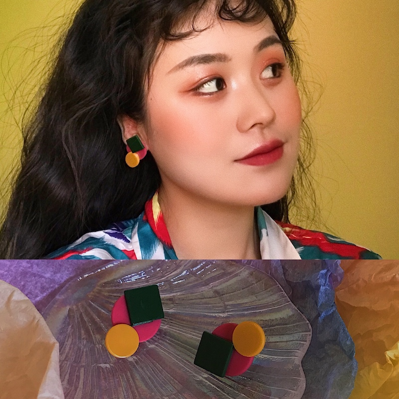 【PO!NY】d23几何风少女拼接个性设计感彩色欧美方形v几何圆形耳环