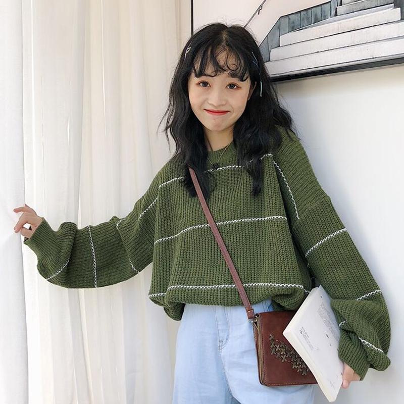 秋冬季新款韩版小清新条纹针织衫女学生套头宽松毛衣圆领长袖上衣