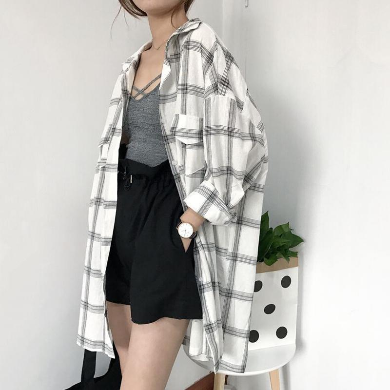 Весна новый в клетчатой рубашке девочки длинная модель bf ветер корейский дикий длинный рукав тонкий куртка случайный пальто рубашка