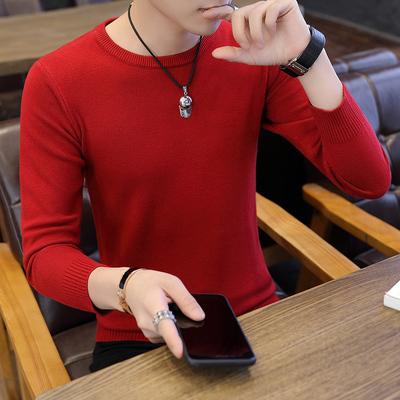 2019 thu đông mới của nam Hàn Quốc áo len nam cổ tròn áo len áo len chui đầu xu hướng nam - Kéo qua