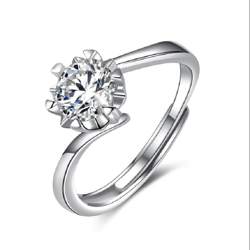 诗美洛莫桑石戒指女钻戒一克拉单钻纯银定制求婚结婚礼物送女朋友