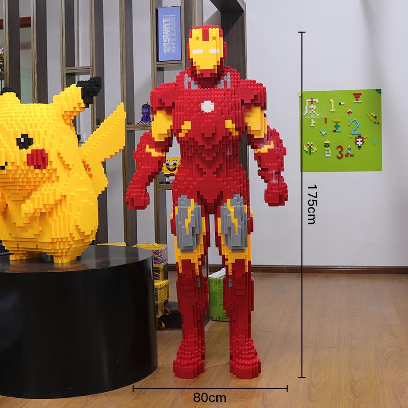 兼容乐高超级玛丽小颗粒积木成人男女孩子玩具78CM狐狸1米7钢铁侠