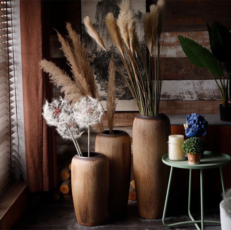 Royal three clay ceramic coarse pottery vase landing sitting room flower arranging rural dry flower is placed, the hotel garden POTS of home stay facility