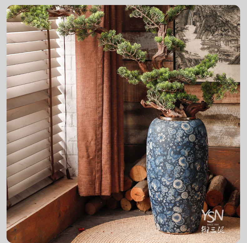 Three mud royal blue and white vase archaize ceramic flower implement landing Chinese wind restoring ancient ways furnishing articles drama props vases, flower implement