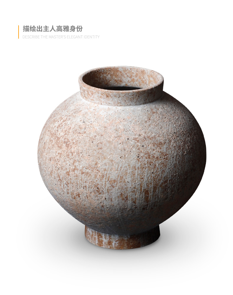 Coarse TaoHua device do old zen meat ceramic vase flowerpot more French antique pottery Coarse porcelain on restoring ancient ways