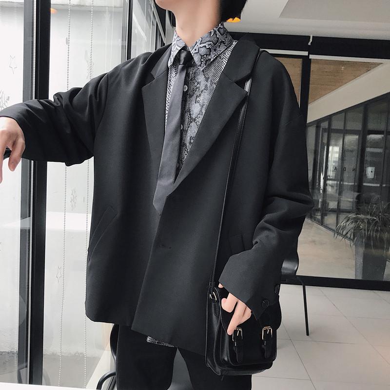 2019秋季新款韩版网红小西装外套复古宽松西服男休闲纯色西服外套