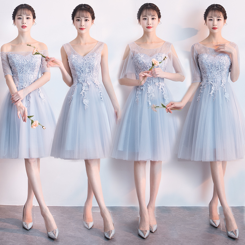 ac99e0151461 Gray short bridesmaid dress 2019 spring new Korean girlfriends bridesmaid  sisters skirt graduation dress dress