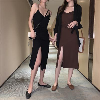 2019款女装连衣裙黑色吊带裙小黑裙内搭打底裙流行裙子长裙度假裙