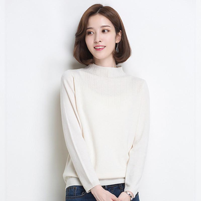 100%羊毛衫,金菊新款秋冬半高领套头宽松打底短款针织毛衣