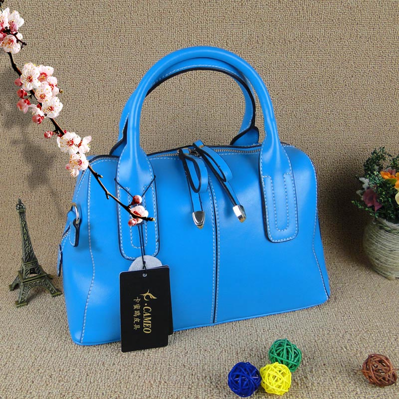 Special Clearance Leather Handbag Messenger Bag Europe And The United States Boston First Layer