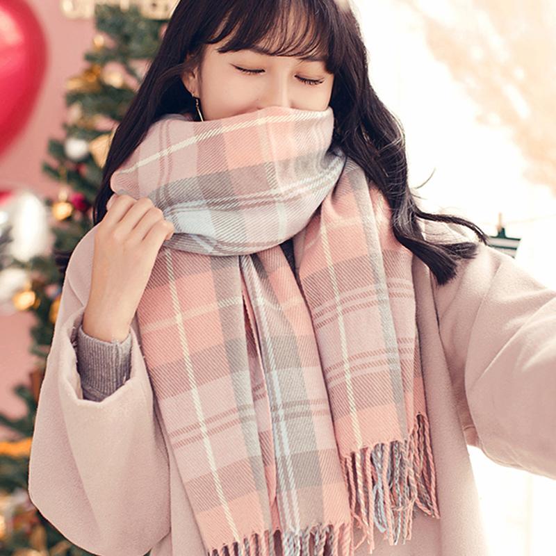 【有首单】冬季韩版复古格子围巾加厚围脖
