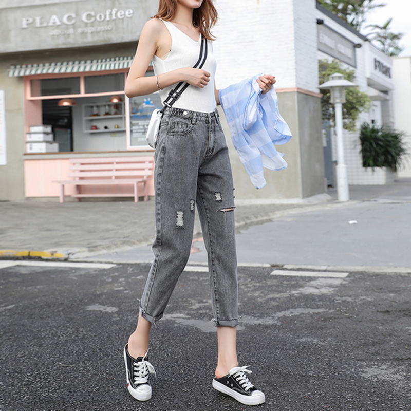 Mùa hè 2020 Harlan cắt quần ngắn và nhỏ nữ 150cm cộng với quần jean nữ cỡ lớn cỡ XXS - Cộng với kích thước quần áo