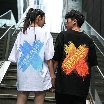 SSUR joint PCMY gravity brush paint short sleeve T-shirt men and women lovers summer Hong Kong wind loose BF wind